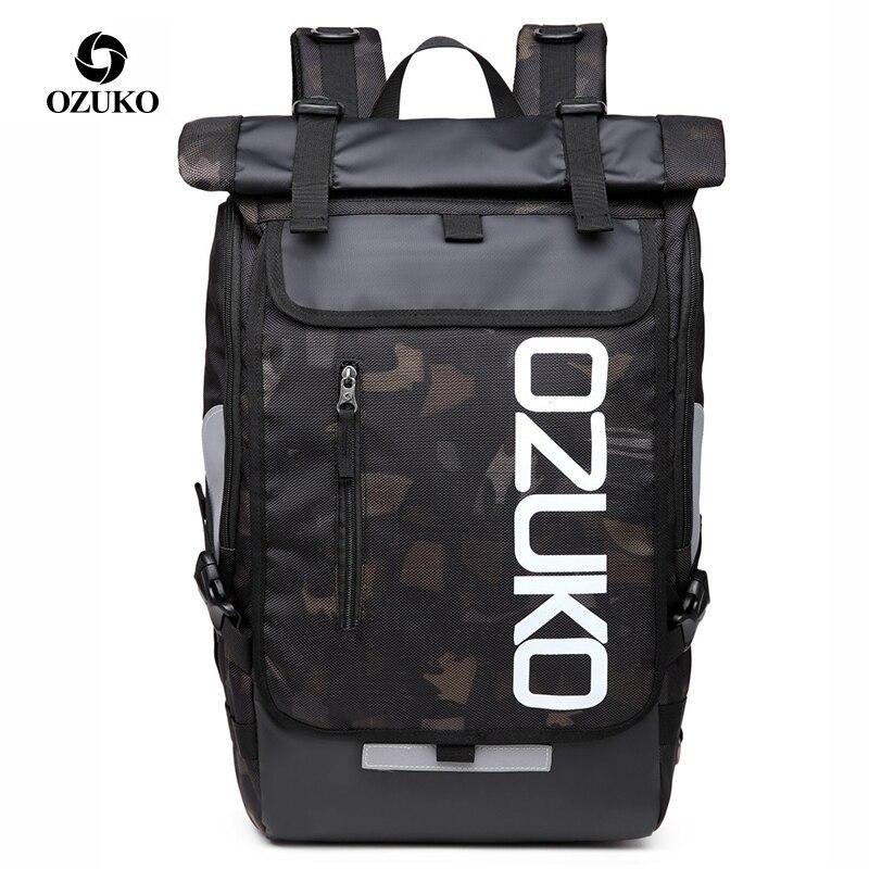 OZUKO étanche hommes 15.6 pouces sac à dos pour ordinateur portable Camouflage sac d'école pour adolescent mode étudiant sacs à dos homme voyage Mochila