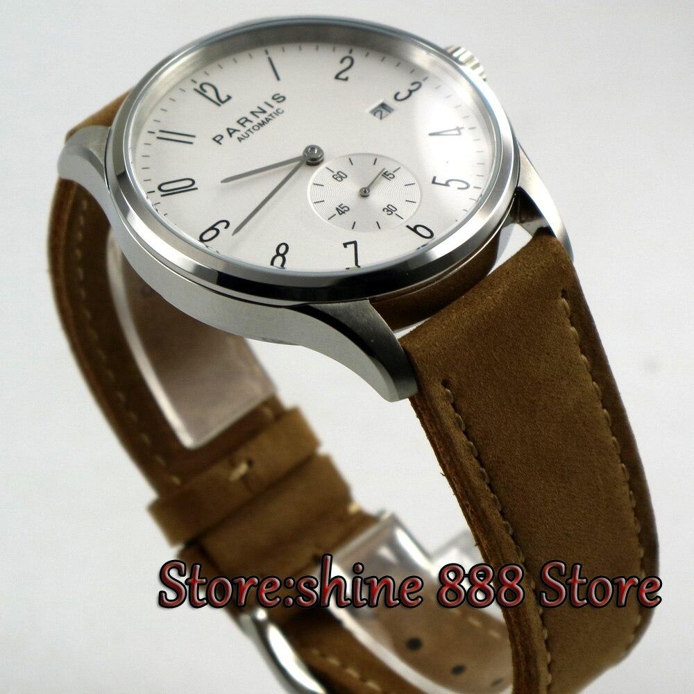 42mm Parnis biała tarcza data 24 godzin słuchawki ST 1731 automatyczny ruch mężczyzna zegarka w Zegarki mechaniczne od Zegarki na  Grupa 3