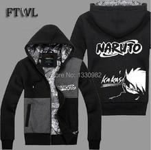 Naruto Kakashi Cosplay Tracksuit Men Hoodies and Sweatshirts Zipper velvet autumn and winter Jacket sudaderas hombre