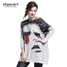 High Quality Women Knitted Rabbit Fur Print Loose Plus Size Sweaters And Pullovers Jumper Pull Femme Fashion Winter Clothing