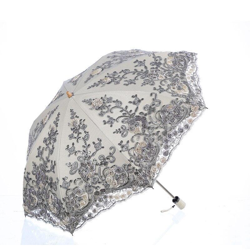 Складной Зонт Зонты дождь женские складные УФ-защиты вышивать зонтик Модные bumbershoot Модные зонты