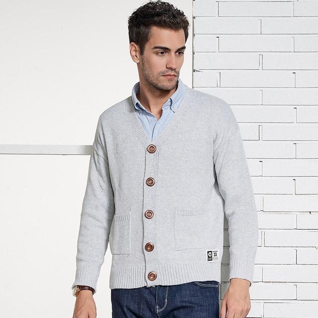 741c58fcf3 Oufisun Brand Men Winter Casual Cardigans Sweater Coat Autumn Solid V-neck  Knitted Warm Fabric Regular Fit Pocket Sweater Men