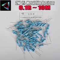 10 Uds. De resistencias de película de Metal, 2W, 1% 0,1r ~ 10M 1R 4.7R 10R 22R 33R 47R 1K 4,7 K 10K 100K 0,22 0,33 0,47 0,56 0,68 0,75 ohm