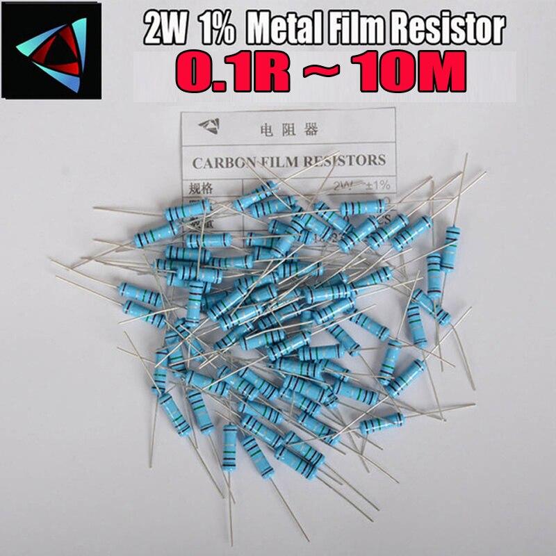 20pcs 2W Metal Film Resistor 1% 0.1R ~ 10M 1R 4.7R 10R 22R 33R 47R 1K 4.7K 10K 100K 0.22 0.33 0.47 0.56 0.68 0.75 0.82 0.91  Ohm