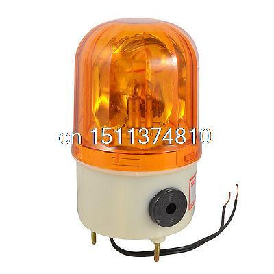 AC 110V 10W Yellow Rotary Lamp Sound Buzzer Beacon Halogen Bulb Light ...