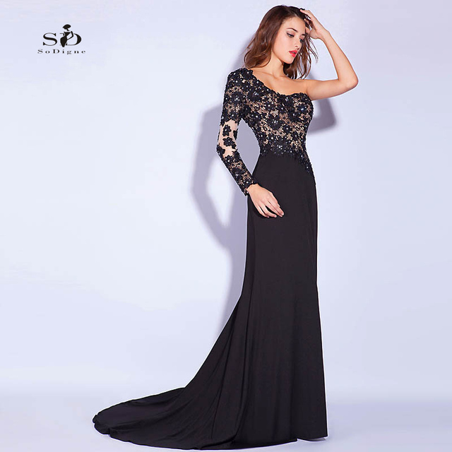 9f6193b7156333 Evening Dresses Luxury Crystals Black Lace Prom Party Dresses One-shoulder  Prom Dresses with Rhinestones Elegant Long Gowns
