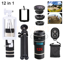 Buy Phone Lens Kit 12X Zoom Telephoto Lenses Telescope+Tripod Holde+Fisheye Macro Wide Angle Lentes For iPhone 4 5 5C 5S 6 6S 7 Plus