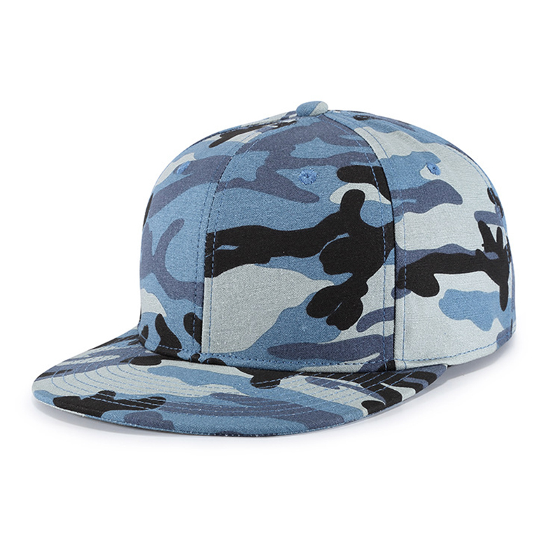 Cap Men Boys Snapback Hip Hop Military Blue Camouflage Flat Bill Dad Hat Adjustable Cotton Sports Outdoor Accessory