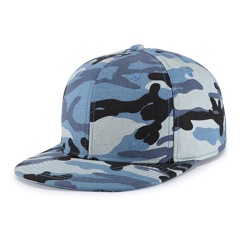 Cap Men Boys Snapback Hip Hop Military Blue Camouflage Flat Bill Dad Hat Adjustable Cotton Sports Outdoor Accessory