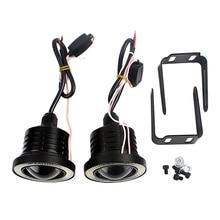 2PCs/lot Black Car Fog Lamps Angel Eyes LED COB Lights Automobile Daytime Running Lights Car Accessories Car-styling DRL