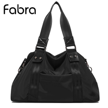 Fabra Black Women Shoulder Bag Light Weight Soft Water Resistant Oxford Big Casual Hand Bags Ladies Handbags Women Tote Bolsos