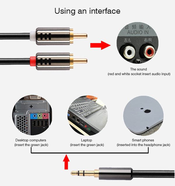 Converter cable jack 35mm rca lotus audio line male to male 1 2 color black greentooth Images