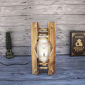 Retro Wooden Desk Light Sea Thematic Table Lamp Creative Home Furnishing Bedroom Bedside Lamp Indoor Lighting(EU Plug)