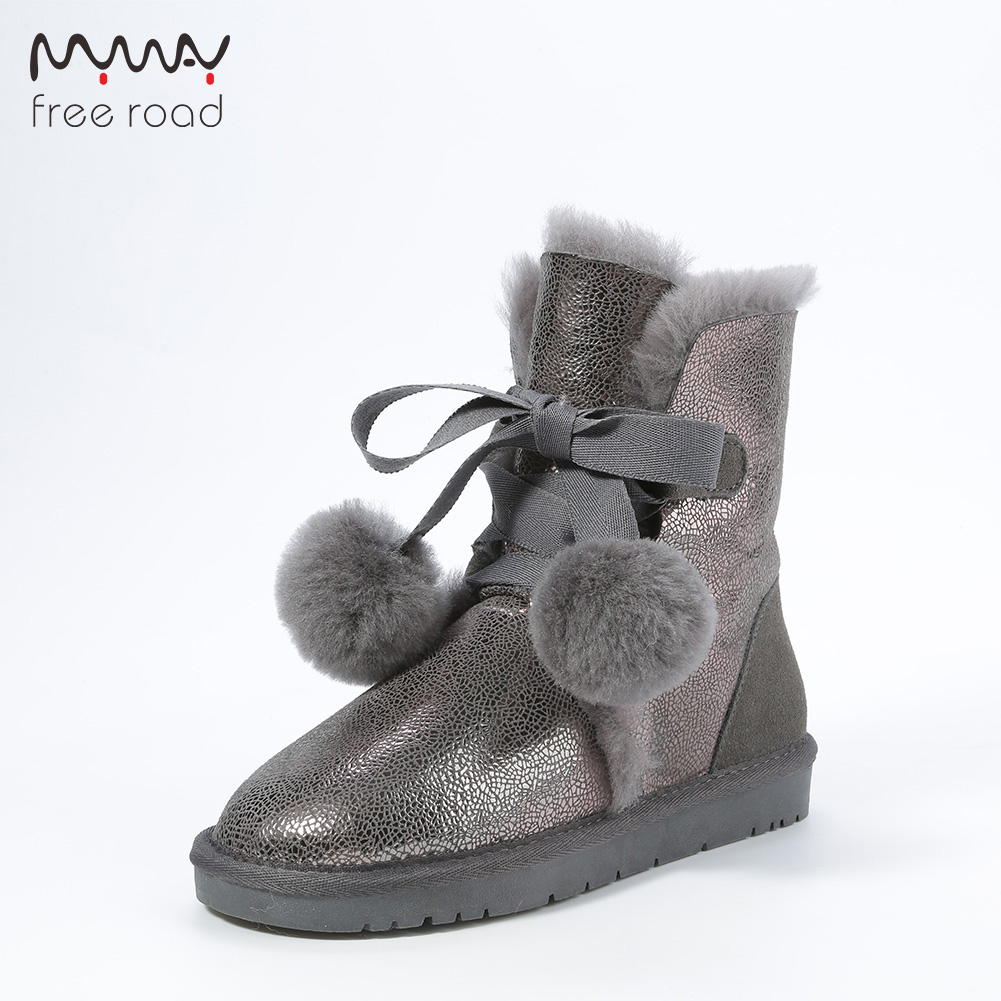 Women Ankle Boots Sheepskin Leather Fur Lined Suede Snow Boots Pom-pom Style Winter Snow Waterproof Warm Boots suede faux fur lined snow boots
