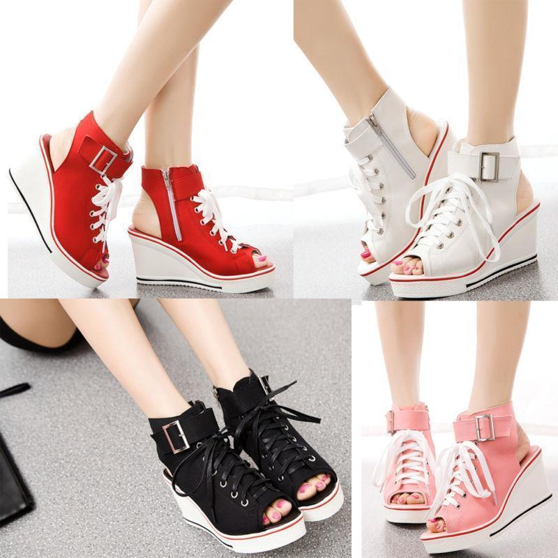 US4-11 Womens Shoes Canvas Open Toe High Top Wedge Heel Lace Up Fashion Sneakers Slingbacks Casual 5Colors Plus Size Breathable