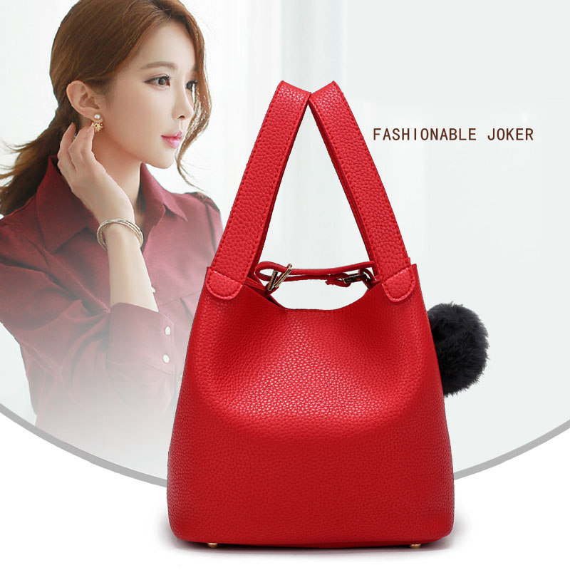 Autumn Korean Women Handbag PU Leather Solid Color Bag Plush Ball Decor Ladies Girls Casual Bucket Bags LBY