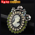Luxury Full Crystal Green Rhinestone Flower Cameo Brooch Pin Birthday Christmas Gift Jewelry for Women Wife Girlfriend Mother