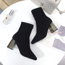 Black Boots Ladies Sexy High Heels Women Elegant Ankle Fashion Sock 2019 Autumn Winter