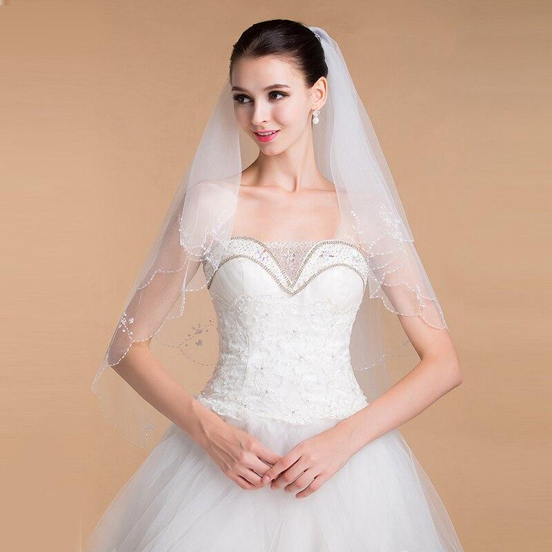 LAN TING BRIDE Duas Camadas Borda Enfeitada Vus de Noiva Vu Capela Com 35,43 cm (90cm) Tule