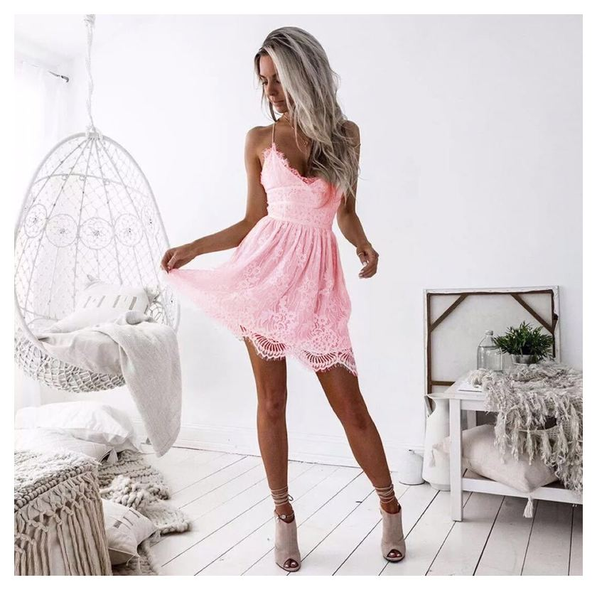 Lossky Summer Party Dress Sexy White Pink Deep V Neck Backless Lace Short Dress Women Casual Bandage Spaghetti Strap Midi Dress