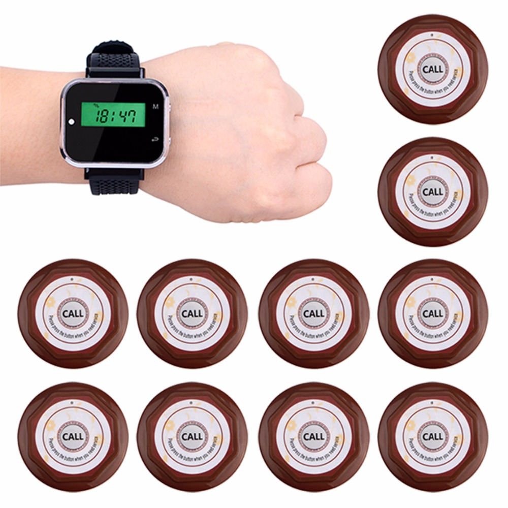 Restaurant Calling System Wireless Waiter Call Pager 1pcs Watch Receiver +10 pcs Call Transmitter Button F3300 waiter calling system watch pager service button wireless call bell hospital restaurant paging 3 watch 33 call button