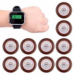 Restaurant Calling System Wireless Waiter Call Pager 1pcs Watch Receiver + 10 pcs Call Transmitter Button F3300