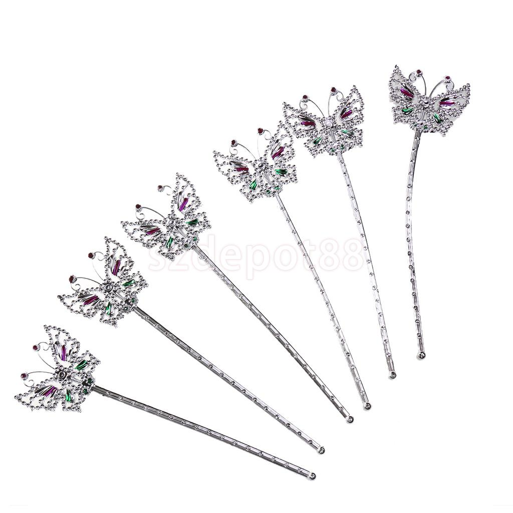6x Cute Butterfly Magical Sceptre Fancy Girls Silver Fairy Princess Angel Wand