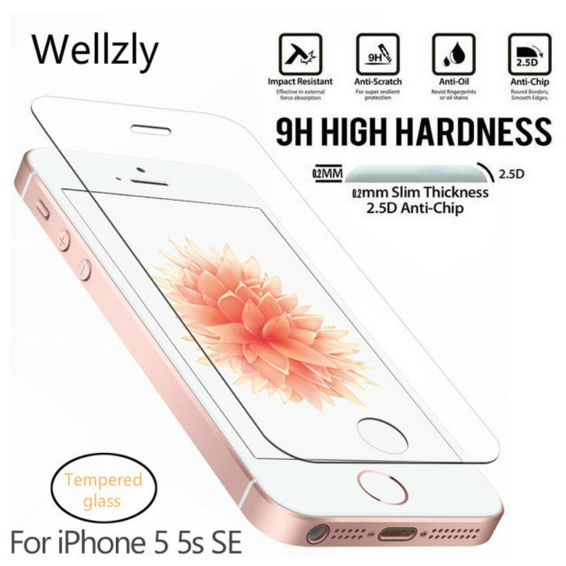 Wellzly 0.26mm 2.5D Protective Glass For iPhone 5S Tempered glass for iPhone 5 SE Screen Protector On Tempered Glass Film 9H HDWellzly 0.26mm 2.5D Protective Glass For iPhone 5S Tempered glass for iPhone 5 SE Screen Protector On Tempered Glass Film 9H HD