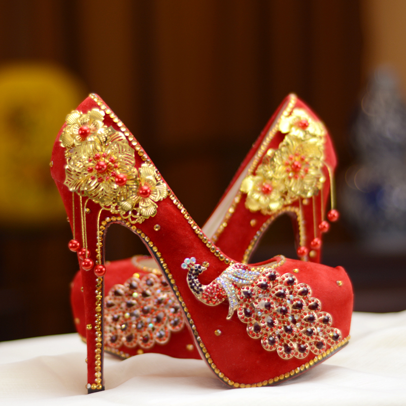 HIZCINTH China Wedding Shoes Crystal Bride Shoes Woman Red High Heel Single Shoe Dress Elegant Thin Heels Pumps Plataformas Muje new pink red rhinestone diamond bride s shoes super high heels crystal bowl wedding shoes elegant sandals female pumps feminina