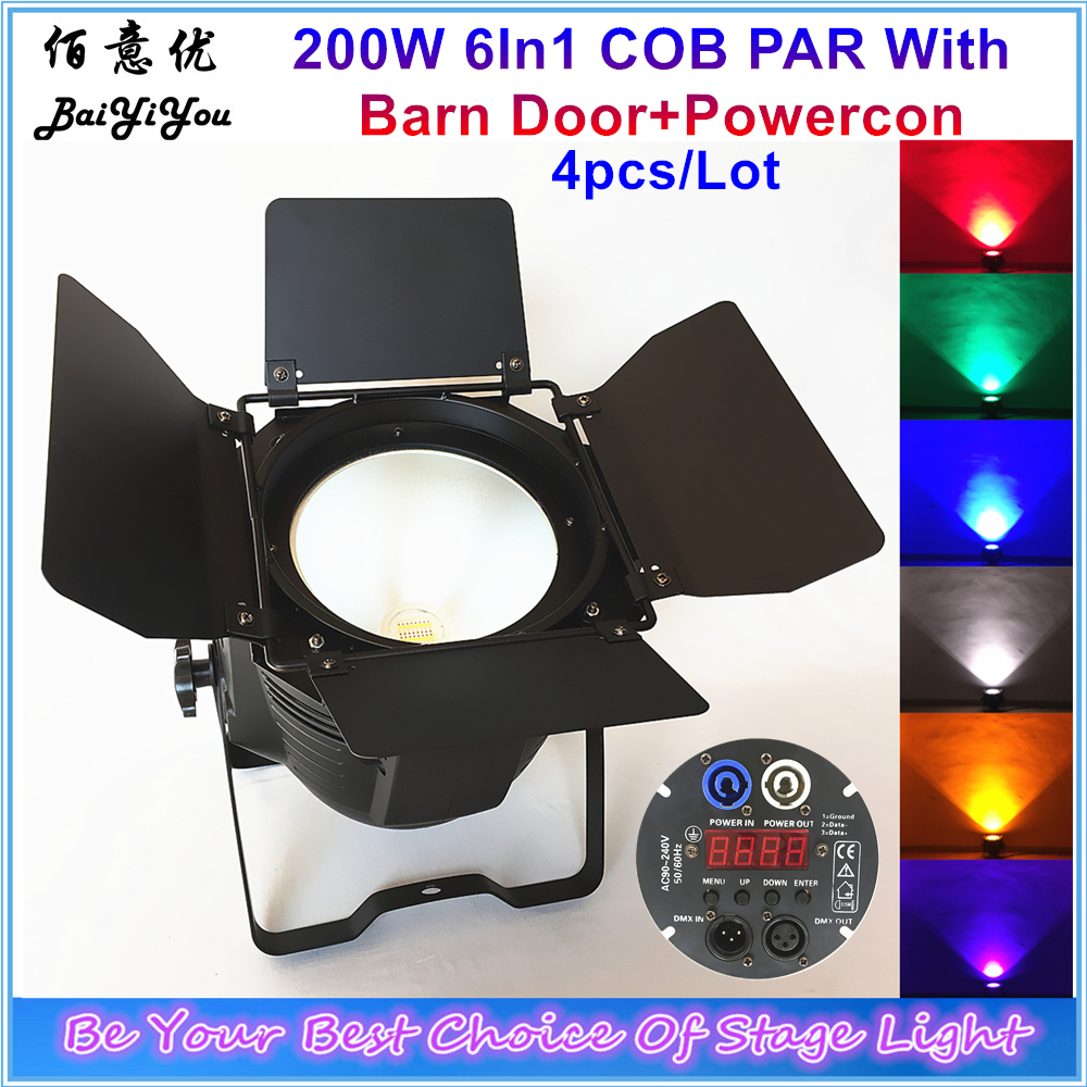 4x New Customized Indoor 200w 6in1 Led Big Cob Par Light