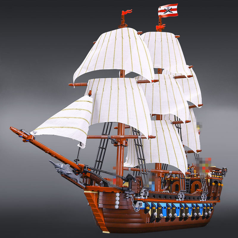 2017 New LEPIN 22001 1717Pcs Pirates The Flagship Huge Ship Model Building Kit Blocks Bricks Toys Gift 10210 lepin 22001 imperial warships 16002 metal beard s sea cow model building kits blocks bricks toys gift clone 70810 10210