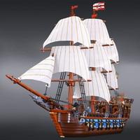 2017 New LEPIN 22001 1717Pcs Pirates The Flagship Huge Ship Model Building Kit Blocks Bricks Toys