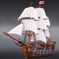 2017 New LEPIN 22001 1717Pcs Pirates The Flagship Huge Ship Model Building Kit Blocks Bricks Toys