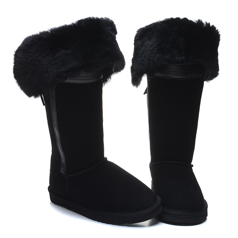 40 Winter boots sheepskin female film star style tall snow boots natural fur genuine leather women's winter shoes