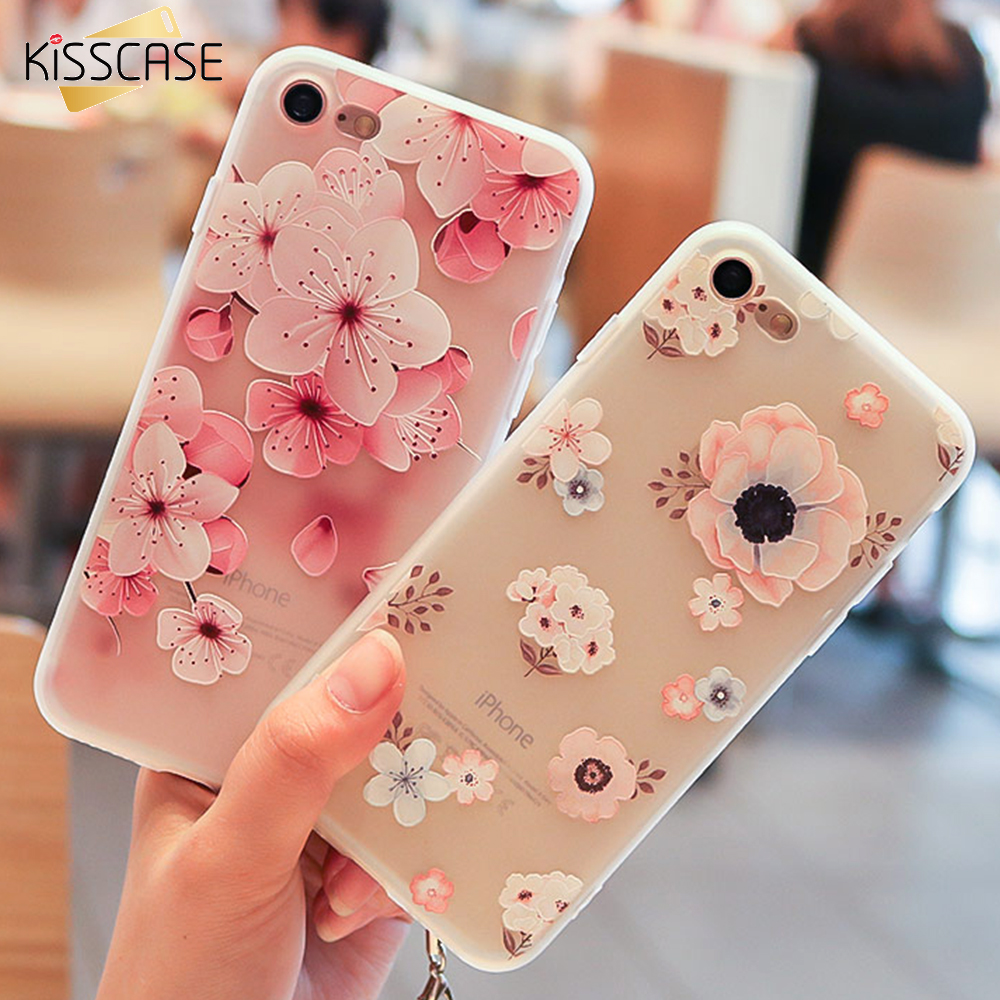 KISSCASE 3D Relief FLower Case For iPhone 6 6S Soft Silicone Cute Matte Back Cover For iPhone 7 8 Plus Capa capinha