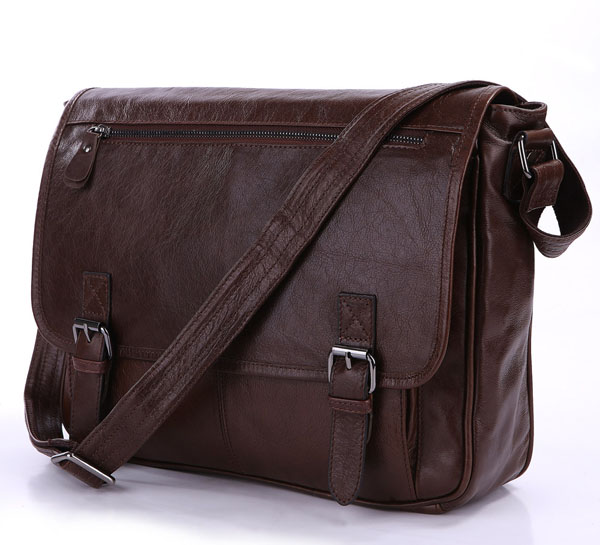 Nesitu High Quality Coffee 100% Guarantee First Layer Genuine Leather Men Messenger Bags Cowhide Shoulder Bags M7022