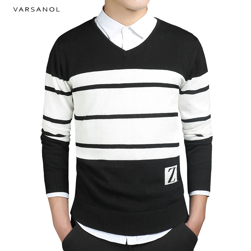 Varsanol Brand Mens Pullover Sweaters Simple Style Cotton Clothing O Neck Sweater Men Striped Jumper Autumn Thin Male Blue M-3XL