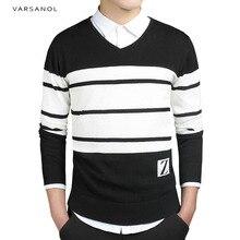 Varsanol Marke Herren Pullover Pullover Einfache Stil Baumwolle Kleidung O Neck Pullover Männer Striped Jumper Herbst Dünne Männliche Blau M-3XL