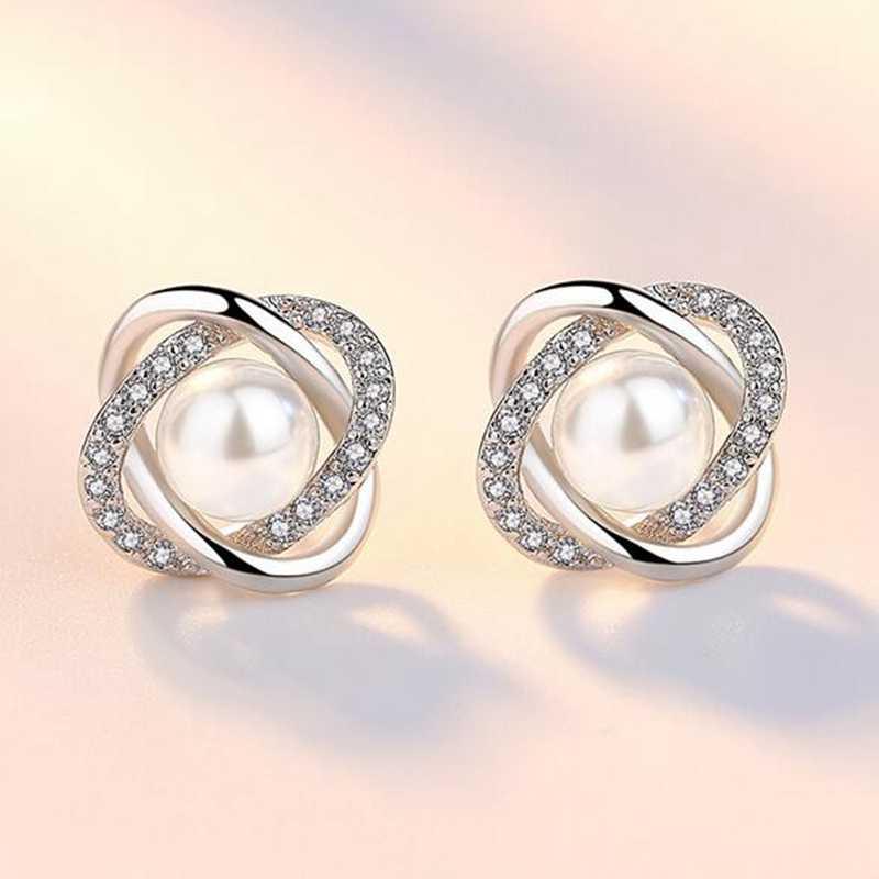Omhxzj卸売気質甘いファッション用女性レディウェディングギフト絡み合っ真珠925スターリングシルバースタッドピアスYS329