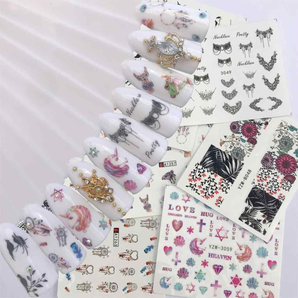 YWK 1 Sheet Blooming Colorful Flower Nail Sticker Coconut Tree Water Decals Black Bird Wraps Sliders for Nail Art Decoration