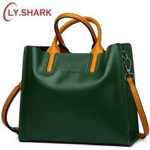 LY.SHARK Big Messenger Bag Women Shoulder Bag Female Bag Ladies Genuine Leather Bags For Women 2018 Women Handbags Green Black