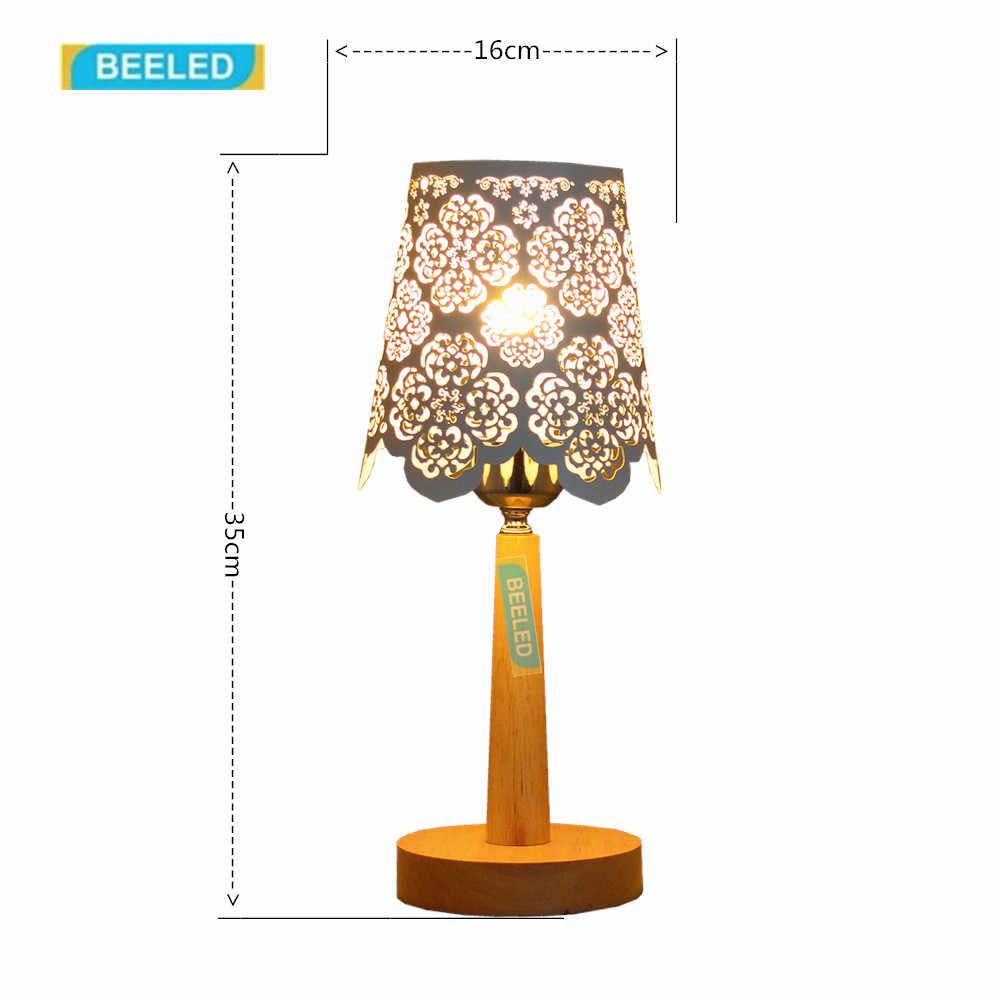 Настольные лампы для спальни Night light Белый абажур настольной лампы для гостиной украшения дома для гостиной деревянная лампа
