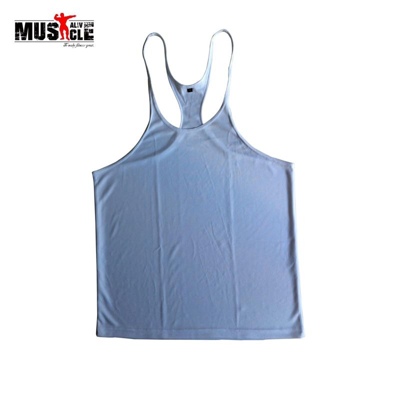 2018 Plain Deepcut Bodybuilding Fitness Muscle Men Stringer Singlets   Tank     Tops   Workout Racerback Vest 1cm Strap Quick Drying