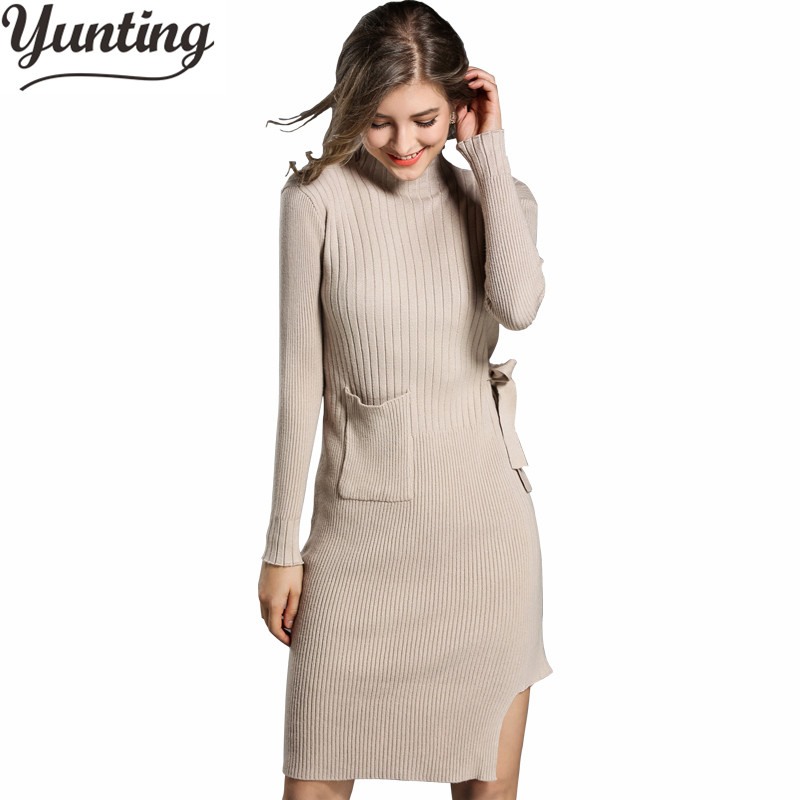 2018 Sweater Dress Women Casual Cotton Dresses Autumn Knitting Stand Slim Dresses