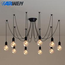Lámpara colgante tipo araña nórdica KARWEN E27 Retro Industrial araña 2M Vintage Loft antiguo Salón accesorio de la barra de luz