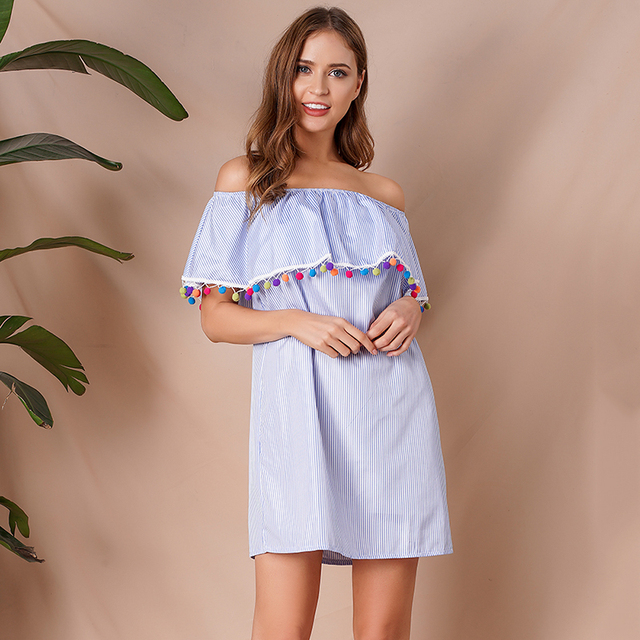 74922f18ef4f6 Boho Women Dress Stripes Print Off Shoulder Ruffle Overlay Tassel Short  Sleeve Loose Mini Dress Women Holiday Summer Sundress