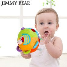 JIMMY BEAR 1 Pcs Baby Toys Multicolour Sensory Ball Infant Toy Rattles Grasping Balls Soft Cloth Jingle Growth