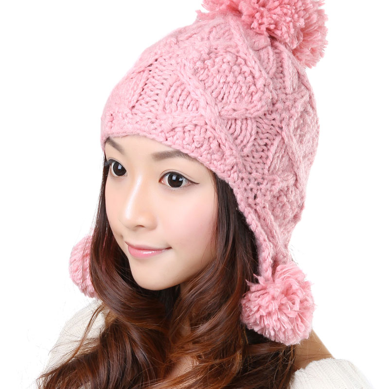 Sweet Winter Warm Wool Ear Muff Knitted Hat Baggy Beret Knit Braided Beanie Ski Hat Skully