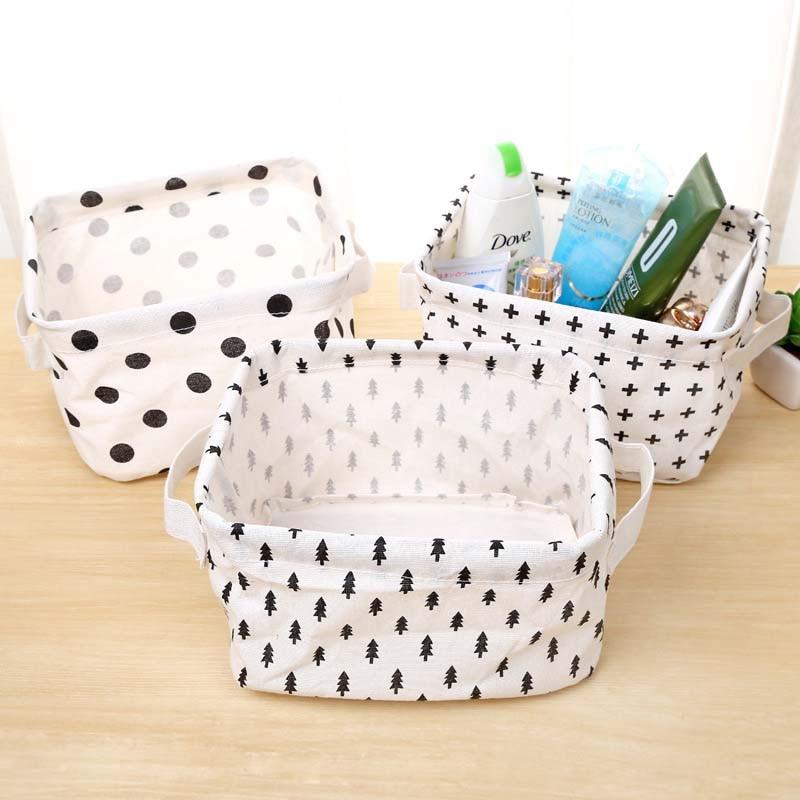 Cute Printing Cotton Linen Desktop Storage Organizer Sundries Storage Box Cabinet Underwear Storage Basket Makeup Storage