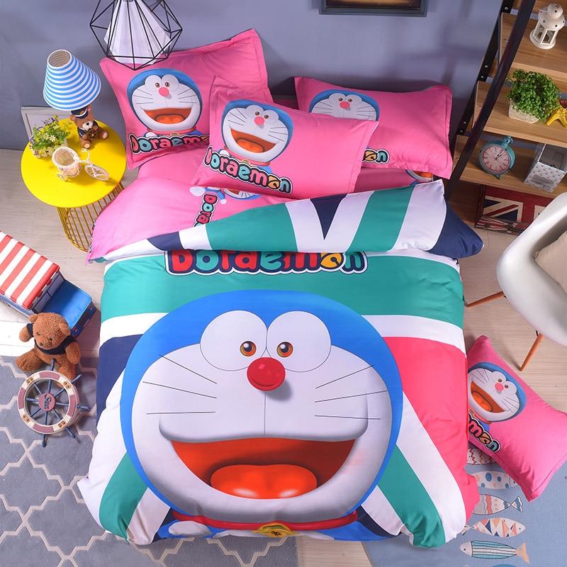 Free Shipping Cartoon Kids girls boys Bedding Sets hello kitty Doraemon Bed Linen 3/4pcs Duvet Cover Bed Sheet soft Pillowcases